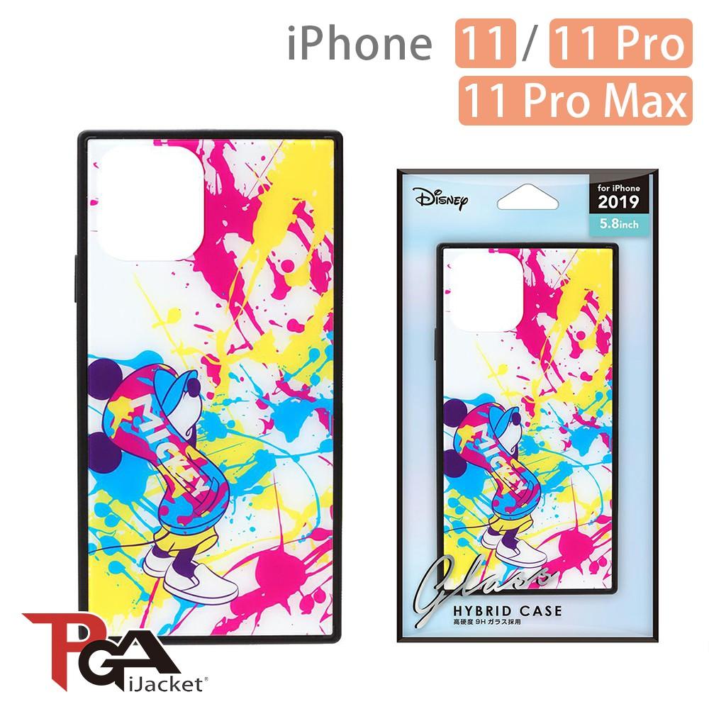 日本PGA iPhone 11/11 Pro/11 Pro Max 迪士尼 四角氣墊 9H玻璃殼-米奇潑畫 廠商直送