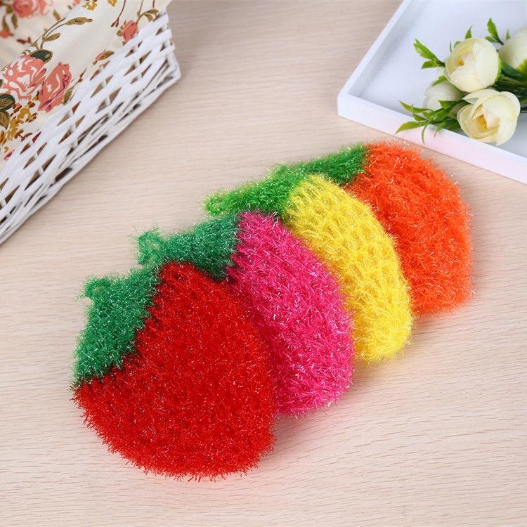 【居家擦手球】韓國不沾油洗碗巾雙層加厚玻璃絲勾草莓洗碗布廚房抹布家用百潔布