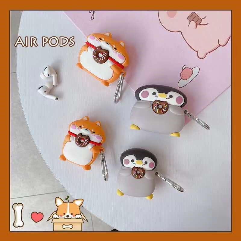 AirPods1/2/Pro 柴犬 企鵝 甜甜圈 保護套✨掀蓋 皮套ins 耳機保護套防摔防刮 套蘋果藍芽耳機