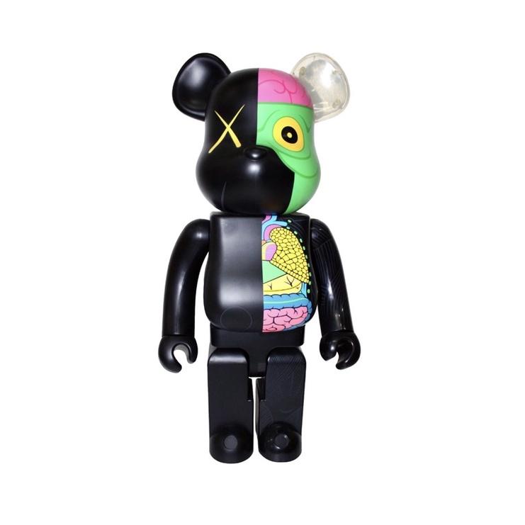 Bearbrick x Kaws半剖黑 1000% 限量500版 庫柏力克熊