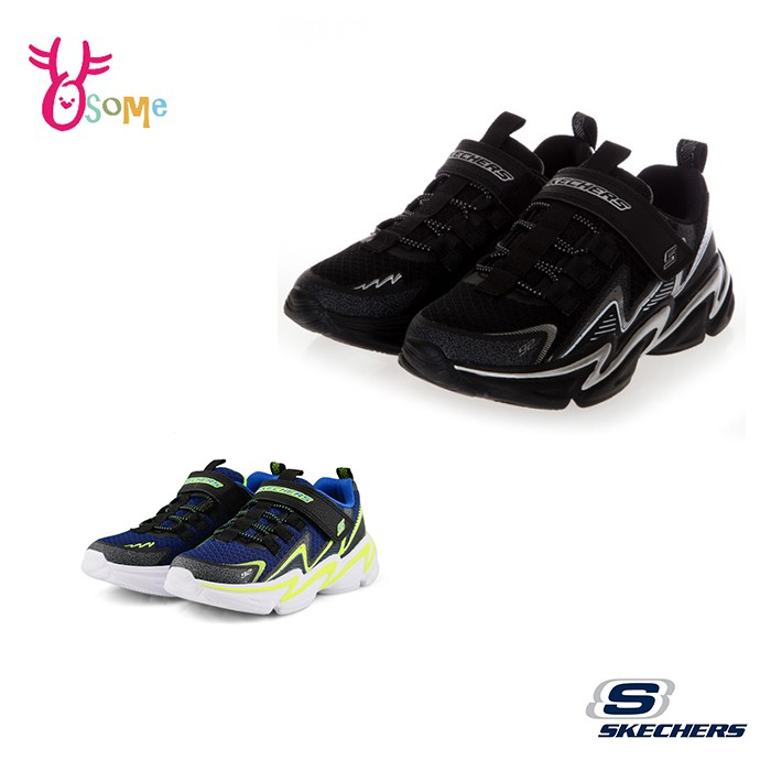 Skechers童鞋 男童運動鞋 WAVETRONIC 跑步鞋 慢跑鞋 魔鬼氈 編織 訓練 U8259黑白