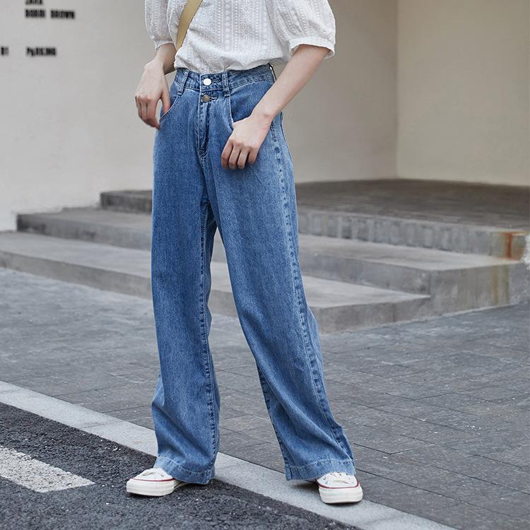 2021年春季新款 牛仔褲女夏季輕薄款高腰顯瘦闊腿拖地牛仔褲學院風休閒褲
