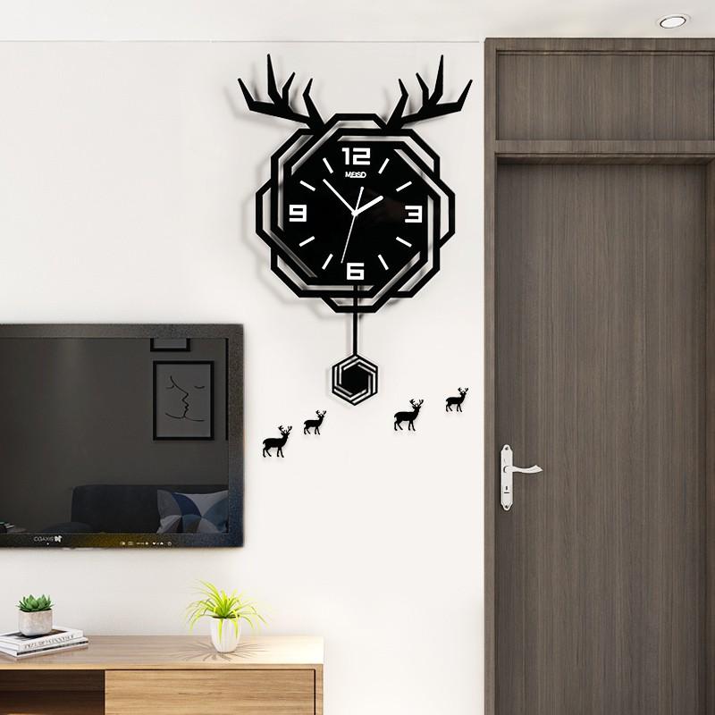 北歐大氣時尚輕奢掛墻鐘表客廳家用創意個性時鐘現代簡約餐廳擺鐘