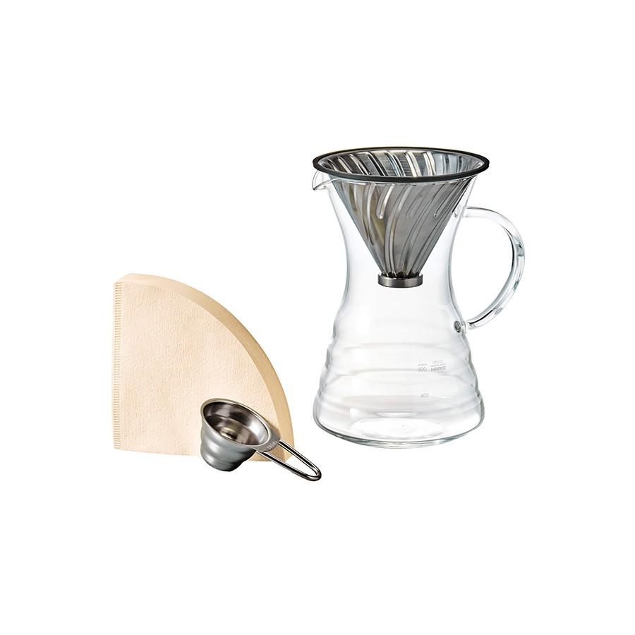 【HARIO】 V60白金金屬濾杯咖啡壺組 VPD-02HSV【HARIO官方商城】
