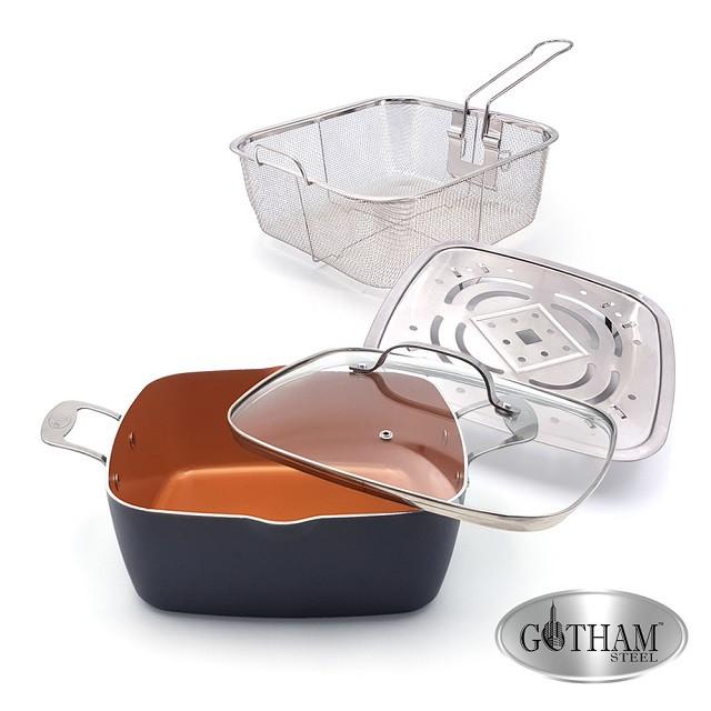 【美國GOTHAM】 鈦金陶瓷多功能雙耳方型不沾鍋具組28cm(附蓋、蒸架、油炸籃)【蝦皮團購】