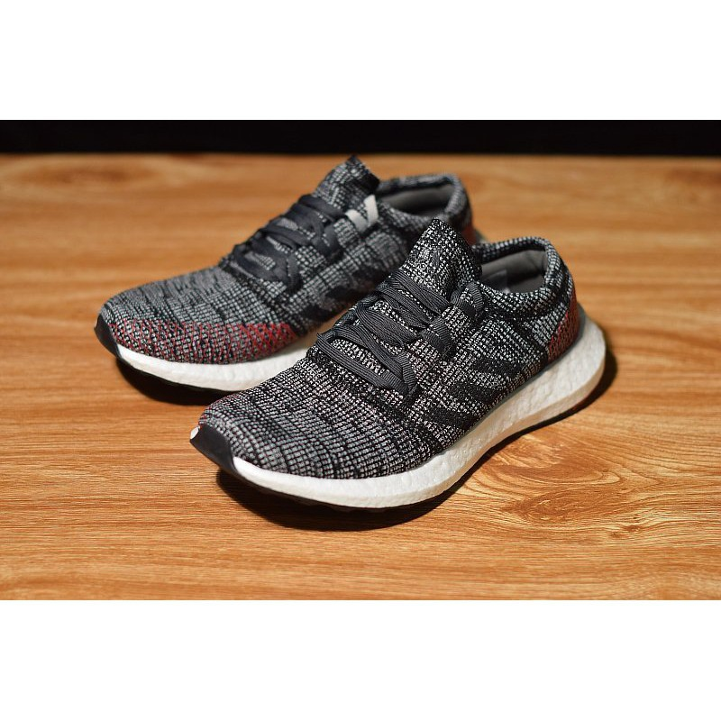 Adidas PureBOOST GO 百搭 編織 慢跑鞋 灰紅 男款