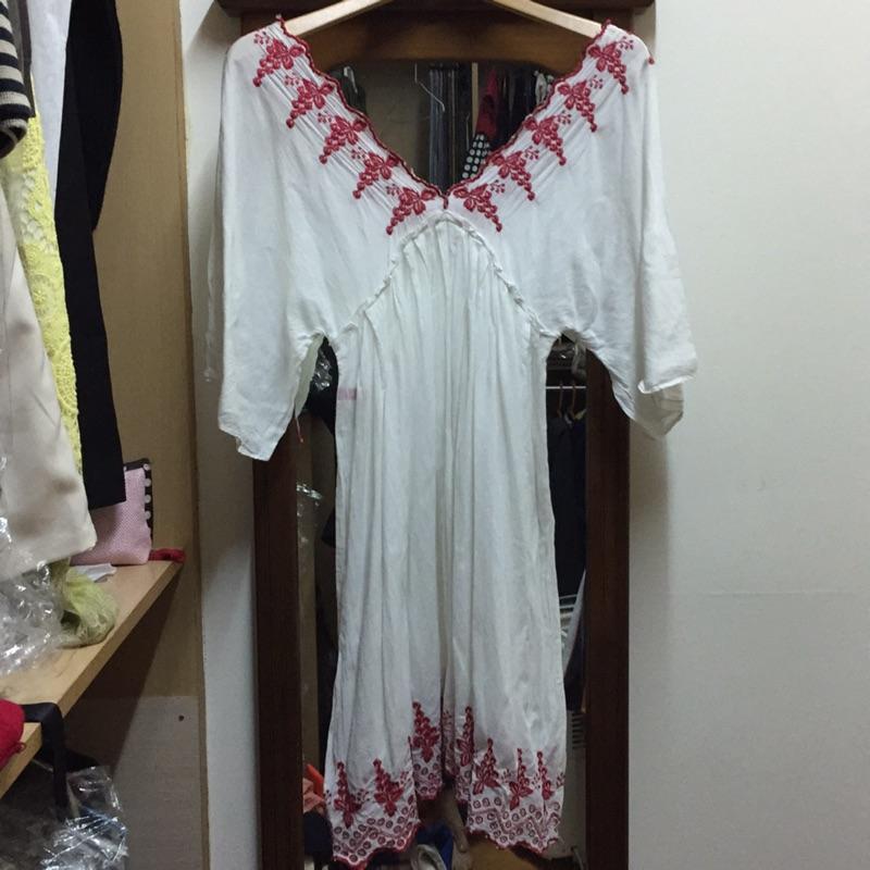 日牌 Rosebullet 前後深V領刺繡五分袖民族風洋裝