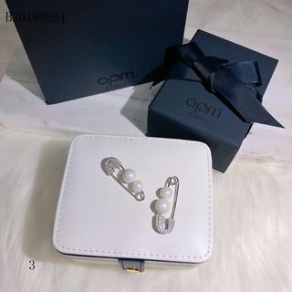 APM Monaco珍珠單只耳釘女純銀鑲晶鉆個性時尚別針耳環耳飾潮‼個性簡約!s925純銀耳針!微鑲精工版、電鍍18k白