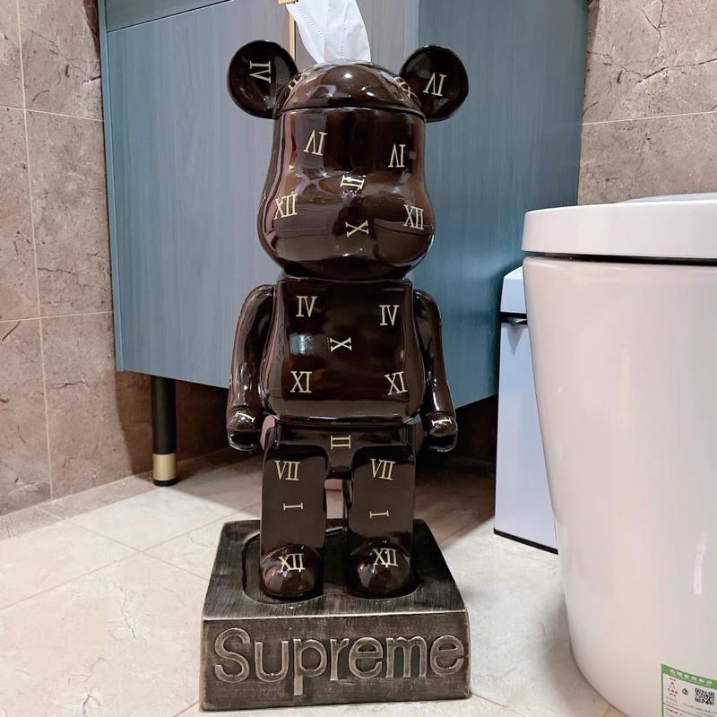 巨大 KAWS / 庫柏力克熊BE@RBRICK supreme聯名 創意捲筒衛生紙盒 面紙盒 擺飾 質感 潮牌 卡通