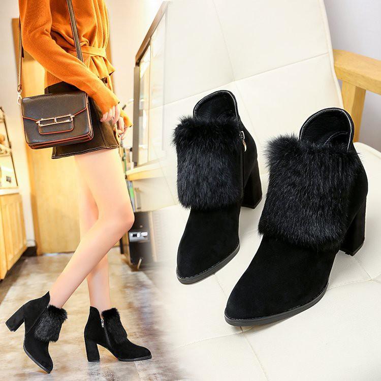 新款上市时尚2018秋冬季新品韓版百搭尖頭毛毛短靴女磨砂加絨保暖靴高跟