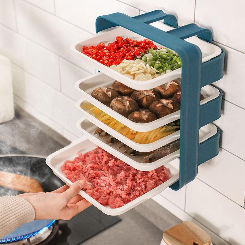 現貨 【廚房置物架 瀝水架】免打孔壁掛廚房配菜盤手提 長方形配菜神器 多層收納架 家用托盤置物