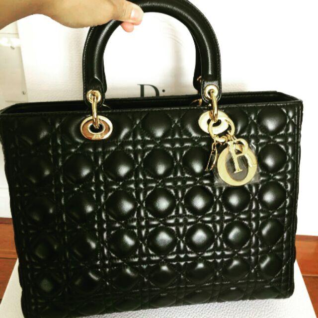 【Dior】黛妃包--黑色羊皮(中型6×7) 經典雋永款式 保值性極高 《本團另有黑色亮皮標準型5×5款》