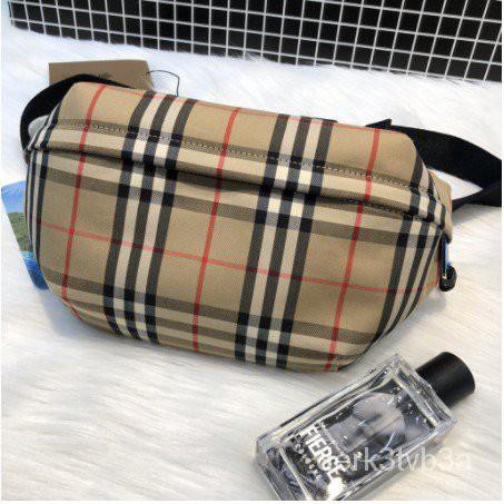 二手 正品時尚名牌BURBERRY 中型 Vintage 格紋接合棉質腰包 80104301