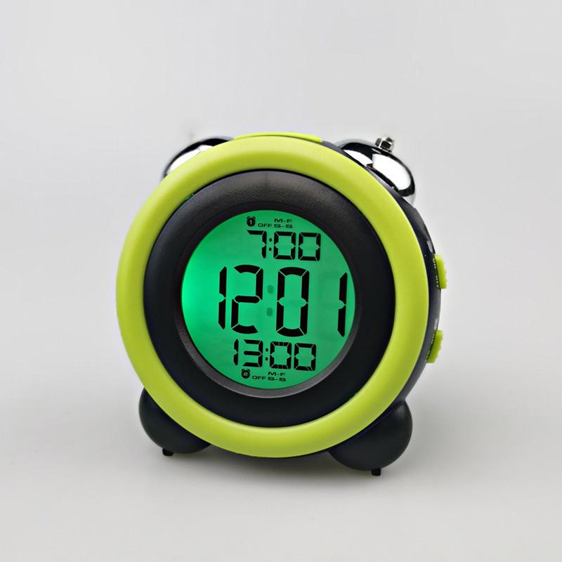 簡約立體LED鬧鐘靜音帶夜光電子鐘雙打鈴鬧鐘學生鬧鐘帶溫度顯示