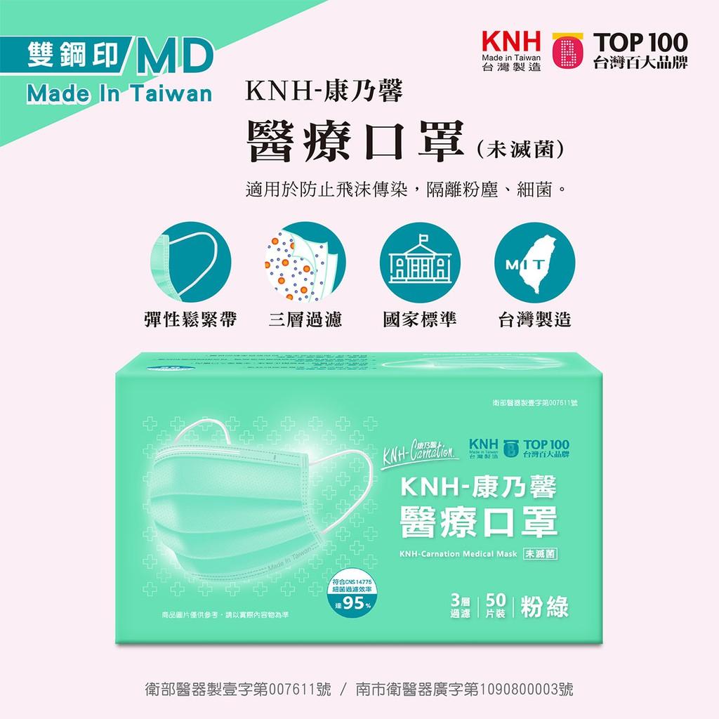 現貨【台灣製造雙鋼印】KNH-康乃馨醫療口罩(粉綠)50片/盒《康乃馨醫用口罩、康那香醫療口罩、成人口罩、平面口罩》