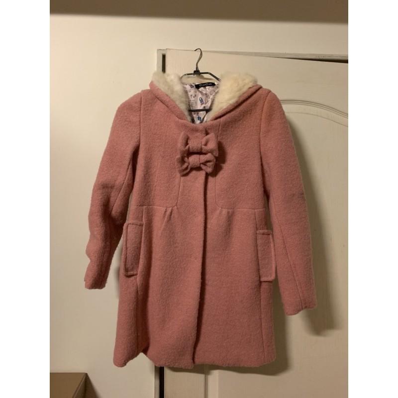 超可愛粉色毛呢質感大衣