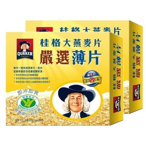 桂格大燕麥片嚴選薄片(即沖即食)1200g/盒X2