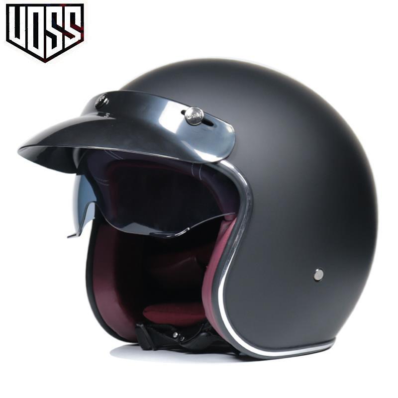 VOSS復古哈雷電動摩托車頭盔男女士個性機車半盔安全帽四季