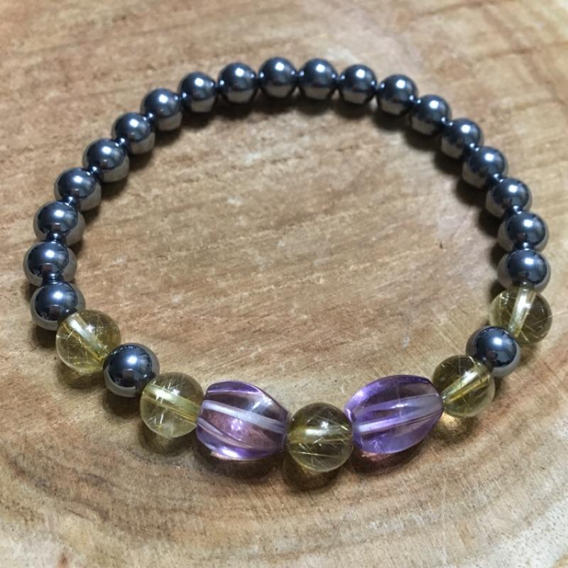 童心水晶玩-鈦晶 紫水晶 鈦赫茲 設計款手鍊