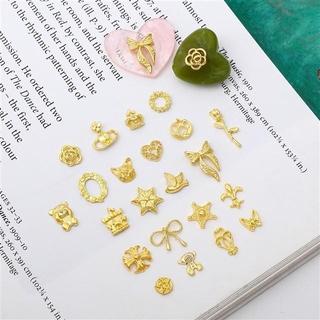 日系美甲合金貼片復古十字架玫瑰滴膠封入物DIY手工飾品配件材料