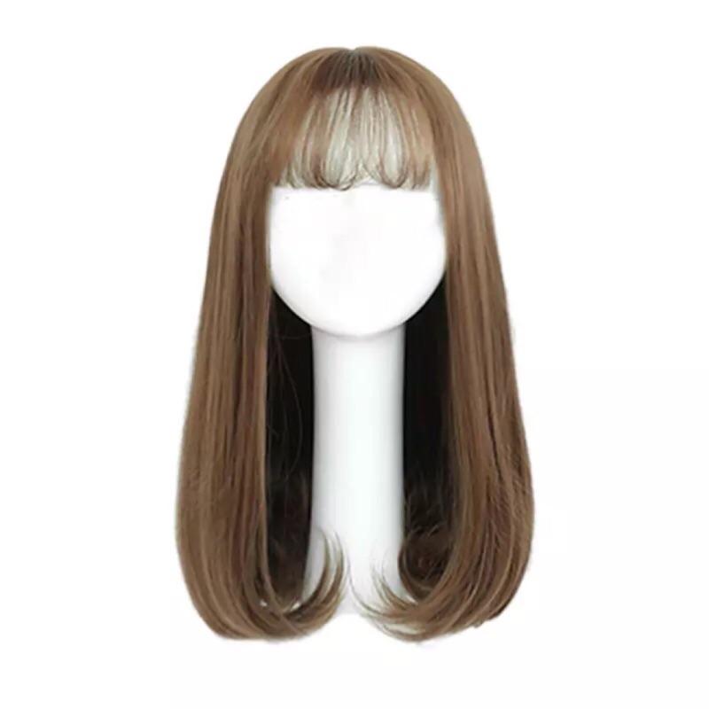 韓國假髮女長直髮時尚修臉甜美可愛空氣劉海梨花頭中長髮微卷內扣