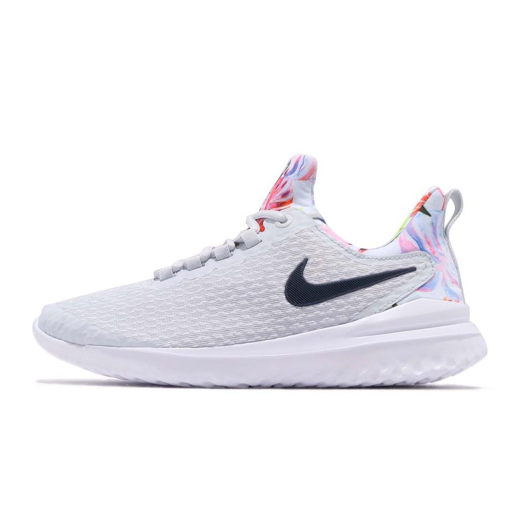 Nike 慢跑鞋 Renew Rival Premium 白 灰 彩色 女鞋 襪套 花 AV2606-001 【ACS】