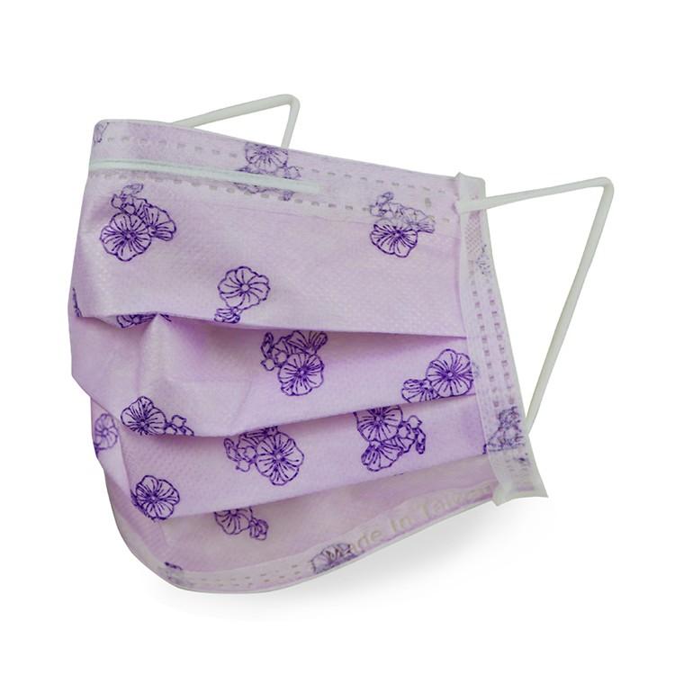 """格安德 台灣製造口罩國家隊""""雙鋼印""""醫療級成人平面口罩 新年新款花色  蜀葵紫"""