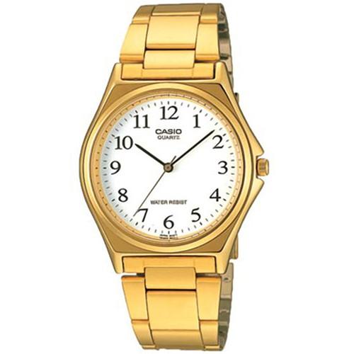 【CASIO】經典簡約圓形金色腕錶-數字白面(MTP-1130N-7B)
