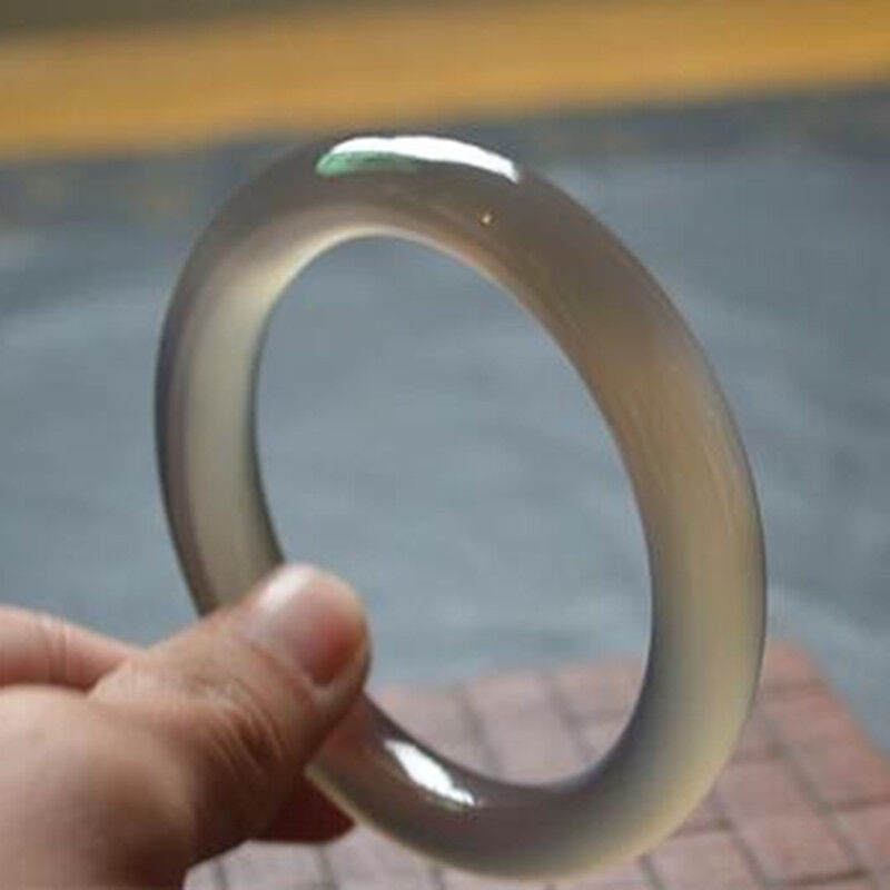 玉石 玉鐲 {氣質灰}天然玉髓灰色圓條瑪瑙手鐲玉鐲子冰種玉髓鐲手環