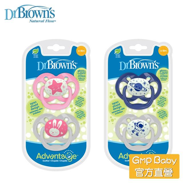 Dr.Brown's 布朗博士 - 夜光人體工學雙面圓形安撫奶嘴 6-18月(兩入裝)