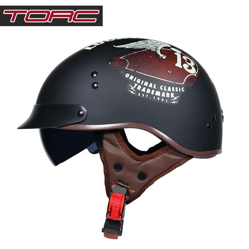 ✿騎行頭盔|安全帽✿TORC復古哈雷頭盔男半盔覆式夏季女電動車輕便帽子個性網紅街車