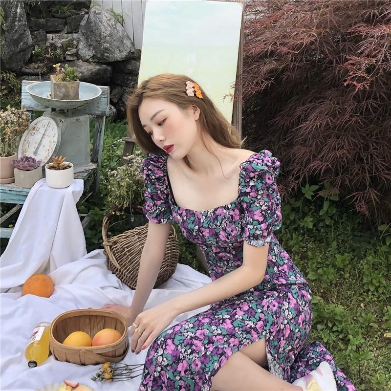 韓風chic甜美洋氣法式複古收腰泡泡袖紫色碎花小雛菊連衣裙