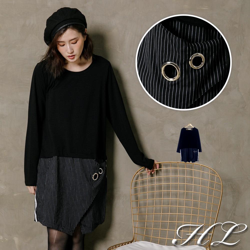 HL超大尺碼【17011011】率性層次直紋擺長版棉上衣
