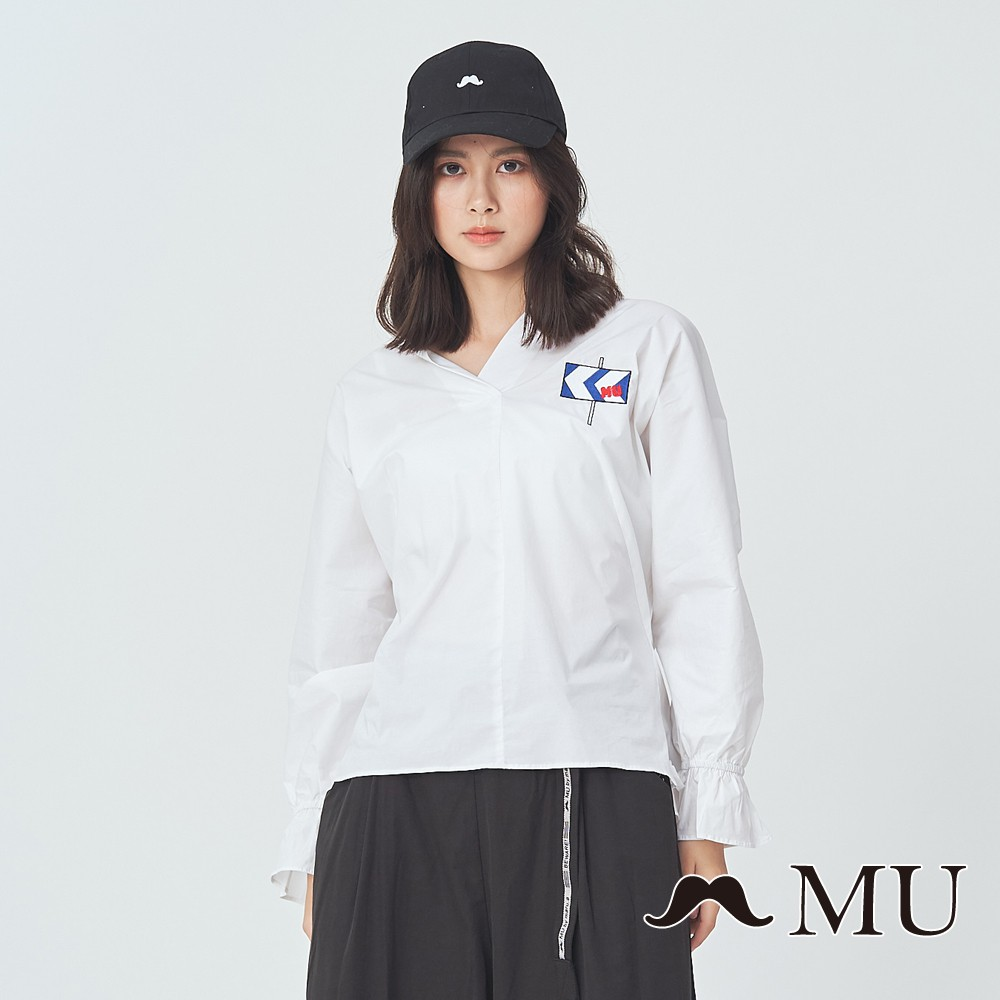 MU (99)袖口綁帶刺繡上衣(白色)