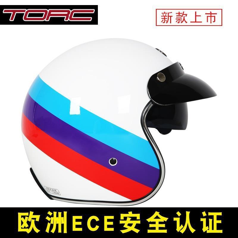 TORC摩托車哈雷復古頭盔機車頭盔男女夏季踏板車電動車頭盔安全帽