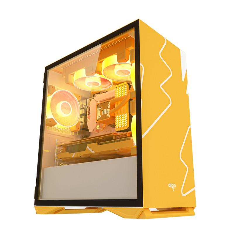🧡限量免運💥 現貨供應  愛國者YOGO M2台式機電腦 全側透明MATX小主機殼 水冷外殼atx粉色白