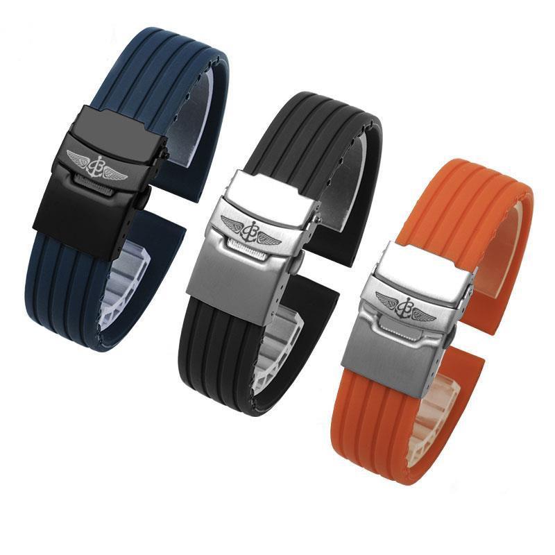 (博藍迅)適配百年靈Breitling復仇者橡膠手表帶22mm黑鳥偵察機硅膠表帶23