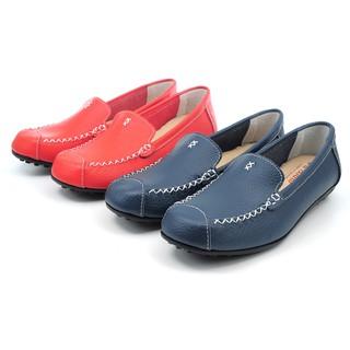 【101玩shoes】MIT 真皮手工縫線舒適乳膠鞋墊豆豆鞋女鞋平底包鞋休閒鞋懶人鞋-柑色36-40碼 台南市