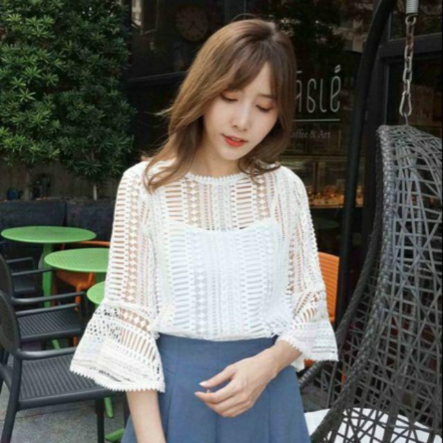全新韓兩件式氣質蕾絲幾何透膚荷葉袖上衣