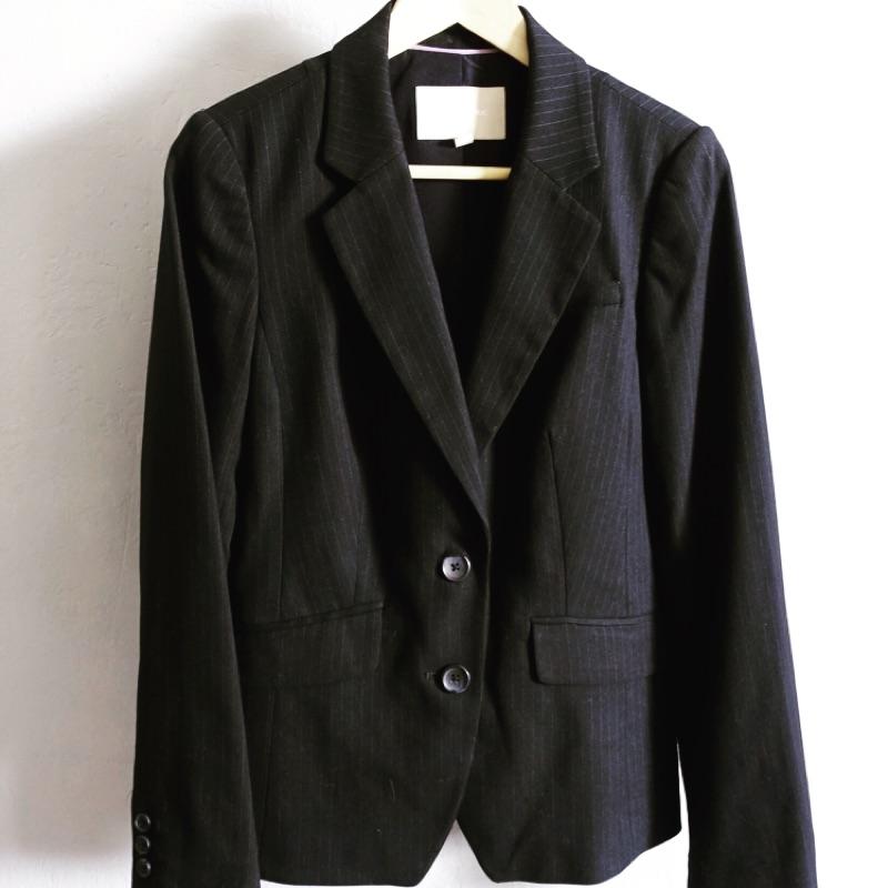 極新!BANANA REPUBLIC 上班族必備單品 女款 黑色條紋 西裝外套 6號