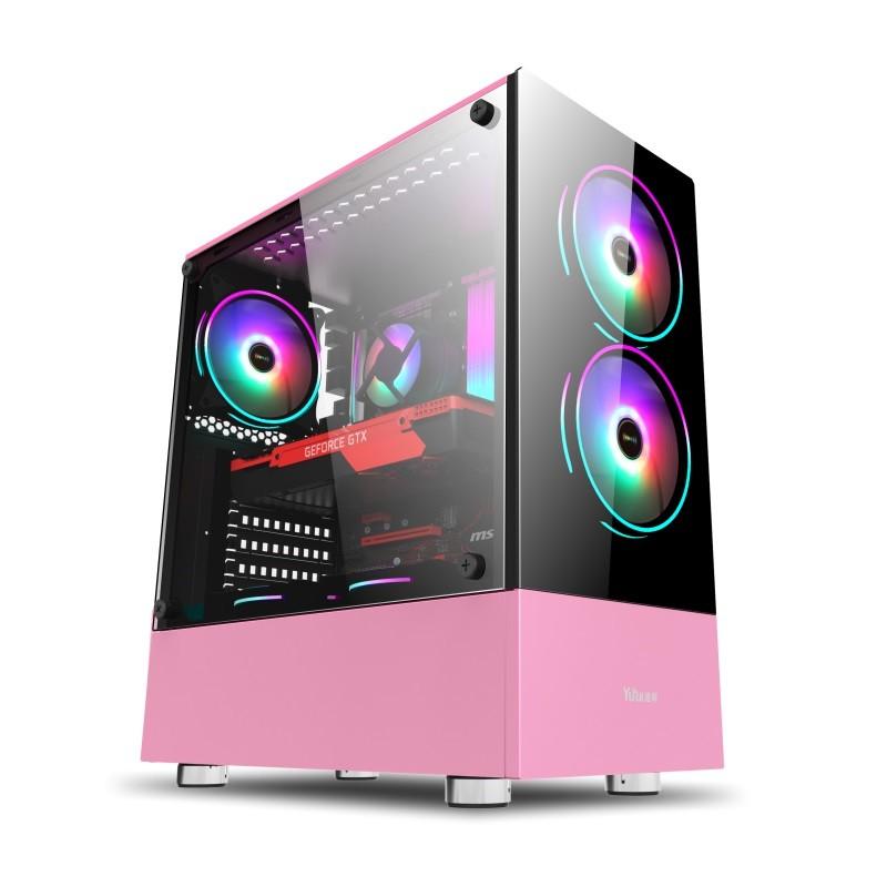 先馬清風3 電腦機殼可愛迷你電腦機箱粉色白色