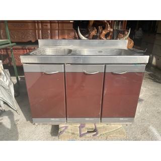 正304 不鏽鋼 雙槽流理台 ~ 水槽 流理臺 工作台 瓦斯爐台 洗手台 全虹二手家具-彰化二手家具-台中二手傢俱 彰化縣