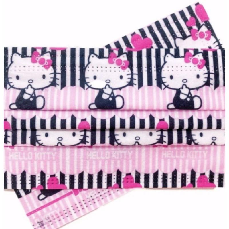 🔥現貨 熱賣🔥💕[Kitty 口罩]💕(黑粉條 新款)💕Hello kitty 凱蒂貓 卡通口罩(非醫用) 成人款
