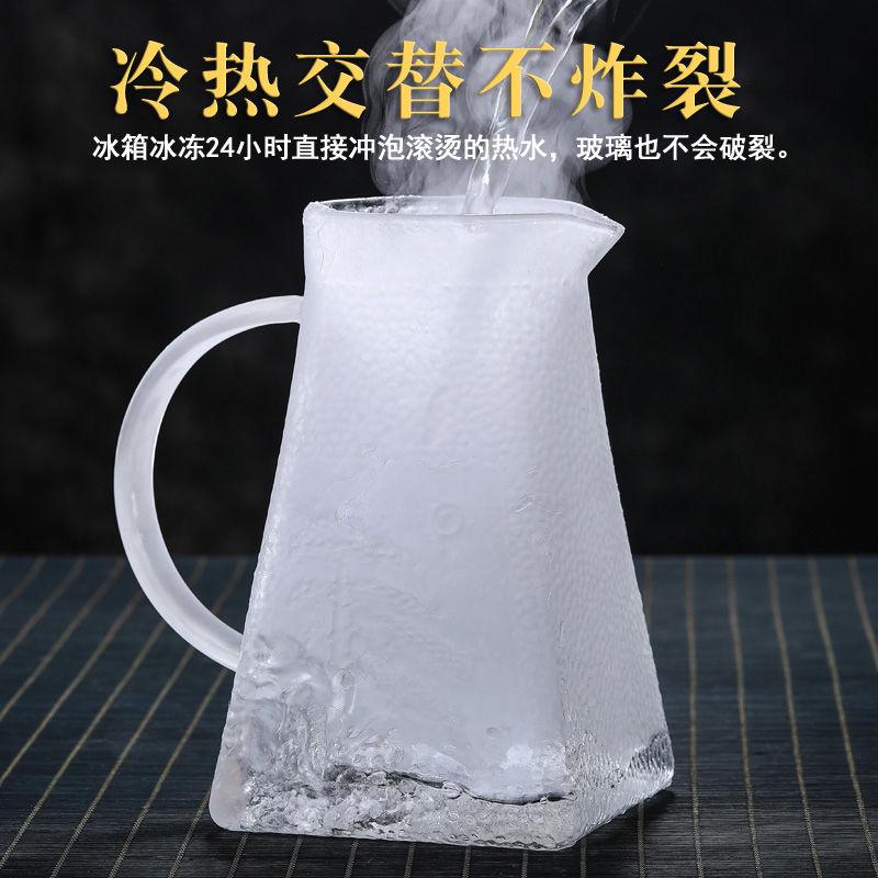【全场九折】家用冷水壺玻璃防爆耐熱高溫涼水壺錘紋白開水杯套裝大容量泡茶壺