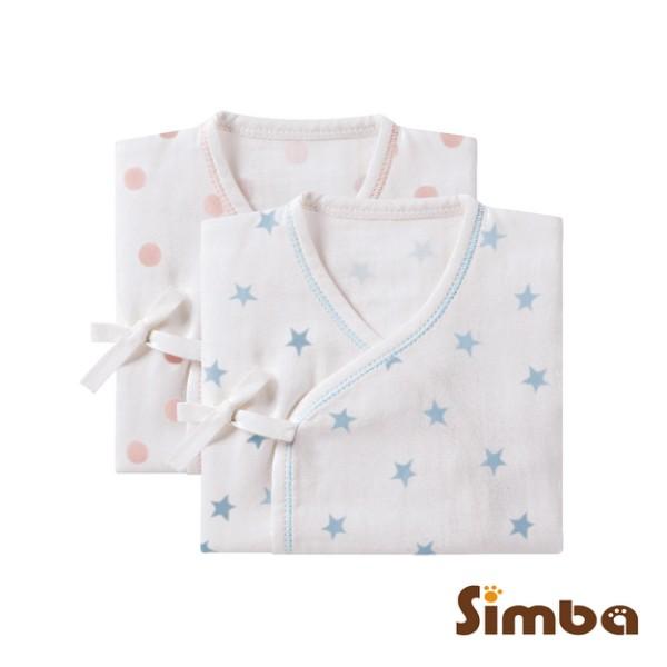 小獅王辛巴 極柔感印花紗布反袖肚衣(60cm)-好自藍/點粉粉