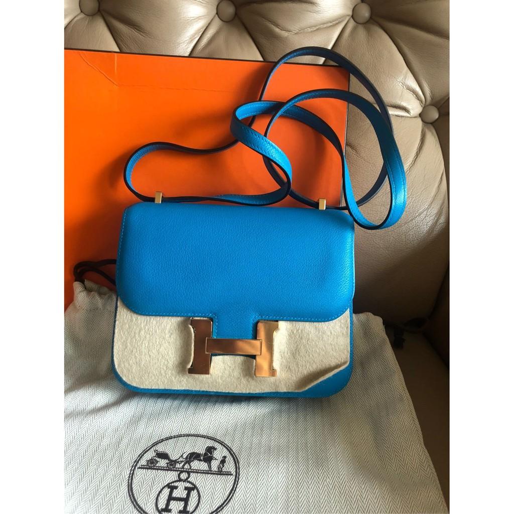 HERMES 愛馬仕 B3 閃電藍色 金扣 mini constance 18cm 康康包 有購證 有盒子 原廠紙袋
