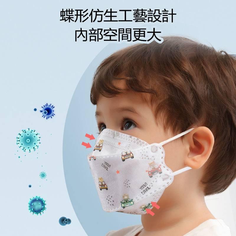【限時下殺】KF94儿童口罩 3D立体口罩 独立包装一次性口罩 男女孩婴童口罩 四层透气防飞沫抗菌