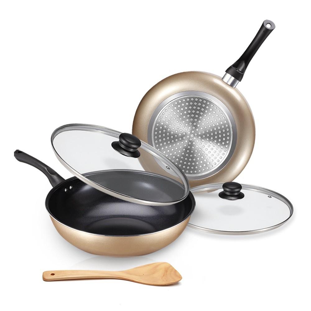 【固鋼】黃金陶瓷不沾鍋具5件組(32cm炒鍋+28cm深煎鍋+附雙蓋+木鏟)