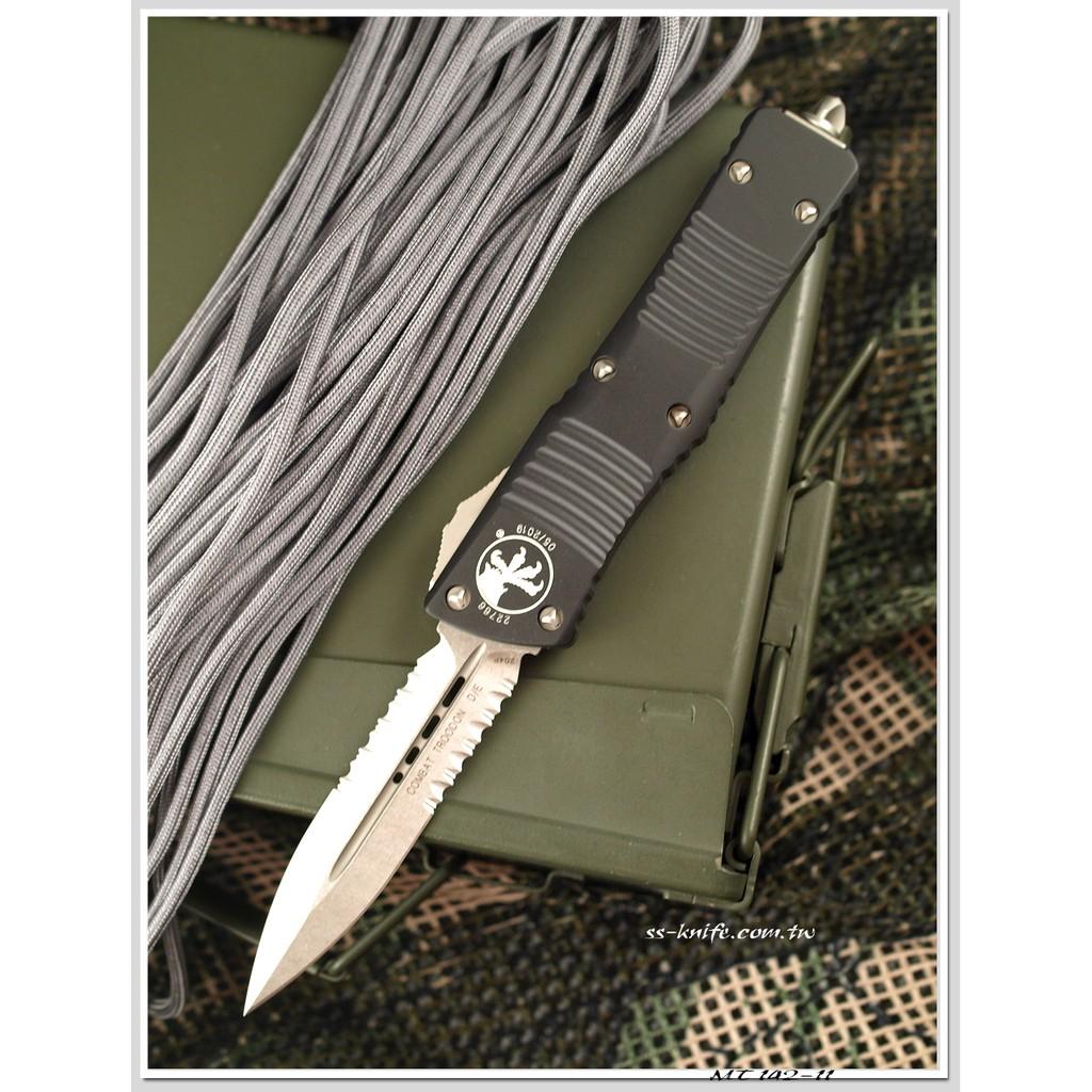 Microtech Combat Troodon D/E 半齒黑鋁柄彈簧刀(204P鋼-石洗處理) MT 142-11