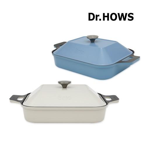韓國Dr.HOWS Brio方形烤盤 含鍋蓋 IH/直火適用 奶油白 天空藍 不沾烤盤